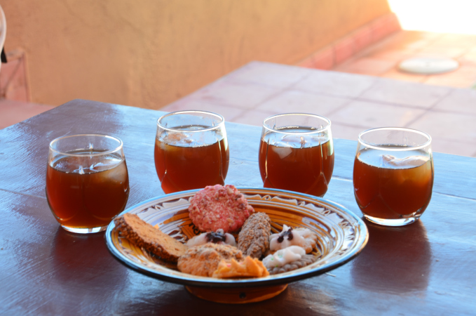 Cooling mint tea and pastries as Kasbah Ellouze, Morocco