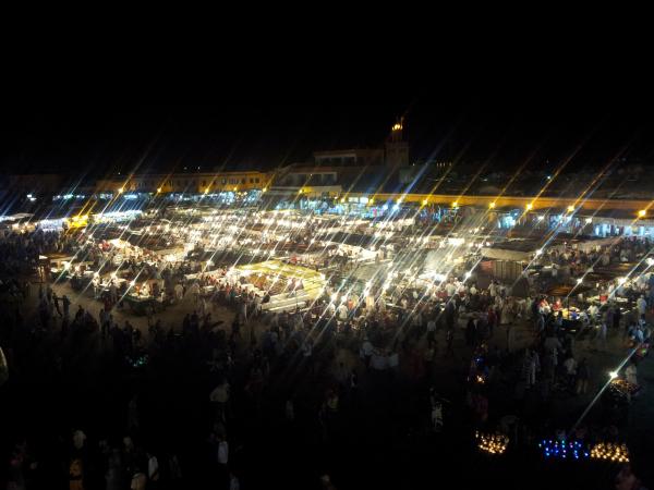 Night view from Café Glacier, Marrakech, Morocco