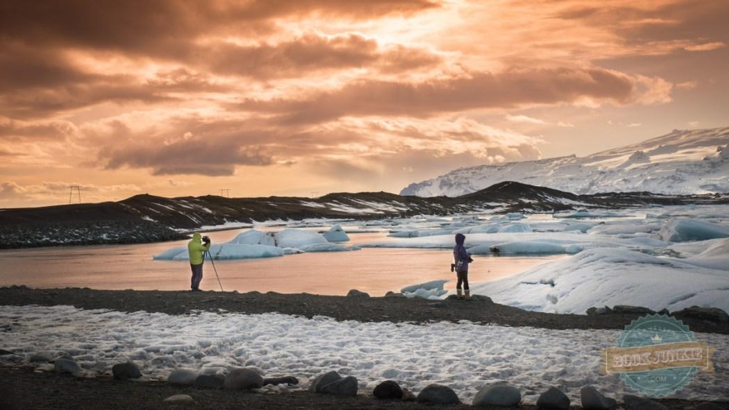 Jökulsárlón Ice Lagoon Iceland sun setting