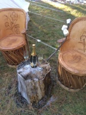 Champagne and glamping (camping)