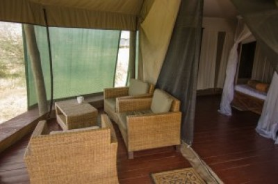Safari tent sofa area pictured by Colin J. McMechan