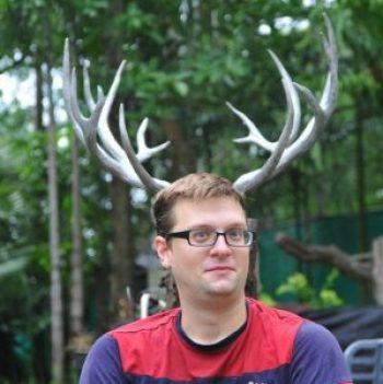 Chris Backe with antler ears