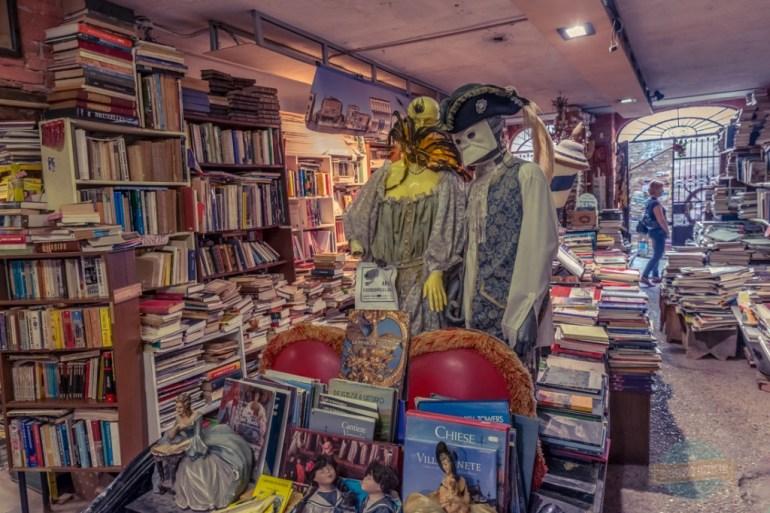 Books in a gondola in Venice Italy
