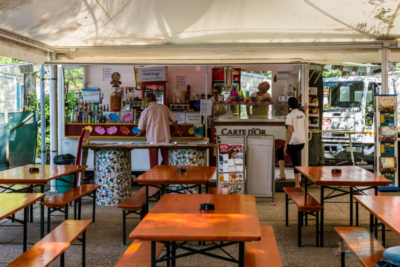 one of the many bar areas at camping ca savio in Venice Italy