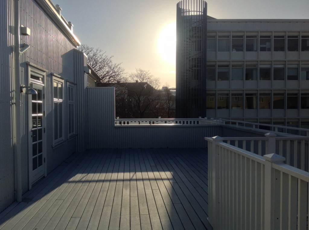 Balcony Area of the Kvosin Downtown Hotel in Iceland