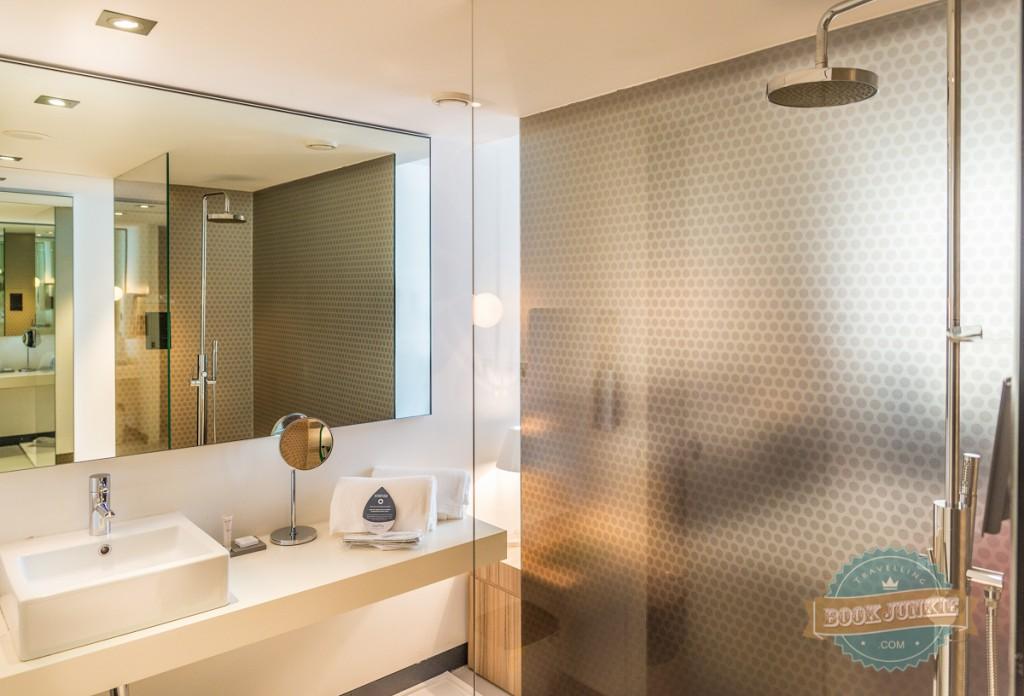 Bathroom and rain shower at the Inpsira Santa Marta in Lisbon, Portugal
