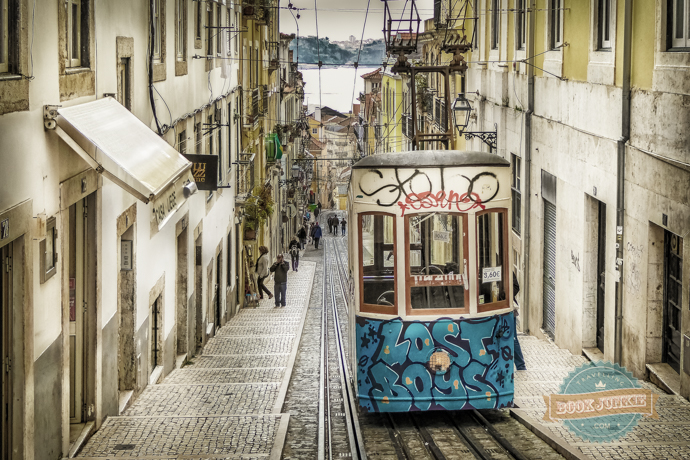 The Bica Funicular in Lisbon overlooking the Tagus River