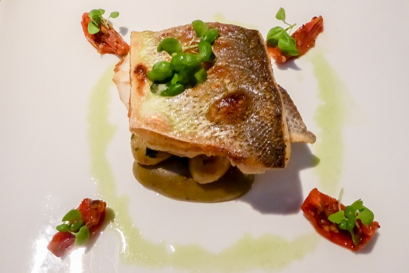 Sea bass main meal served at the Apex off the wall restaurant in London
