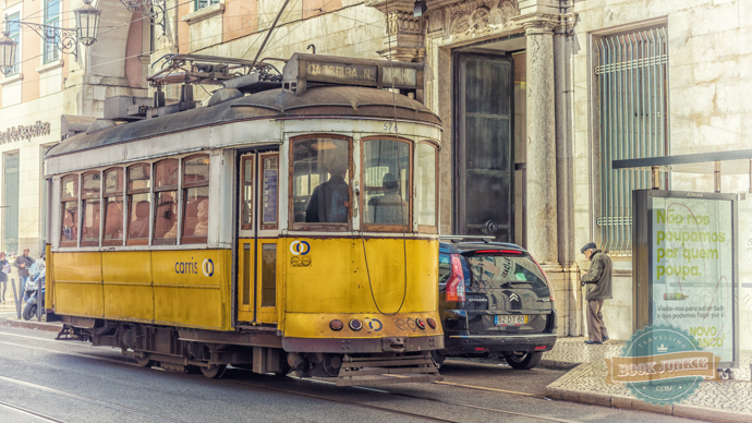 Tram 28 that takes you around the historical centre of Lisbon in Portugal