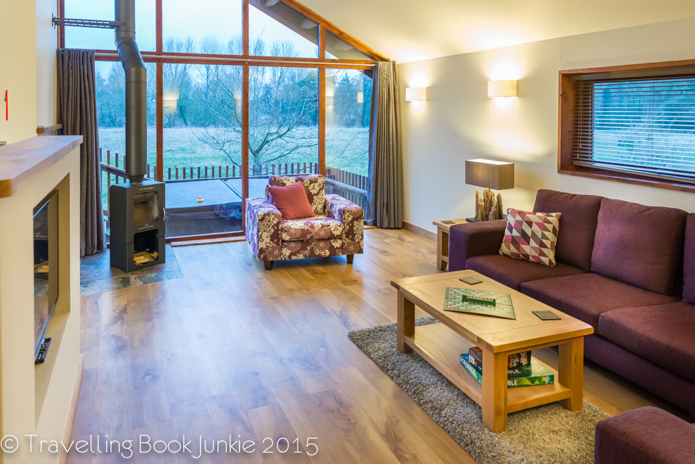 The big window of the log cabin at thorpe forest forest holidays thetford forest UK