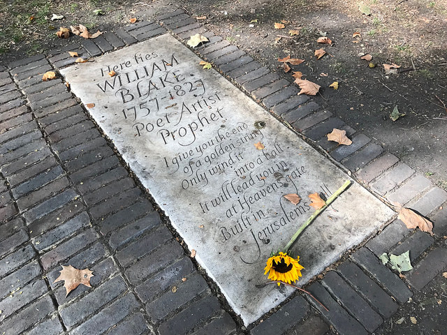 William Blake gravesite at Bunhill Fields cemetery in London alongside other writers and authors.