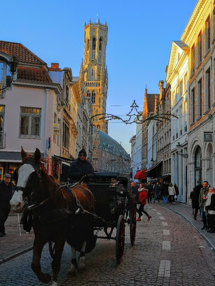 Bruges in Beligium still has the tradition horse and carriage for tourists to use.