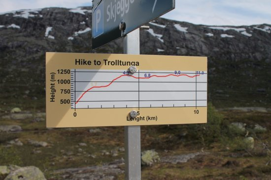 Gráfico del perfil de la subida a Trolltunga