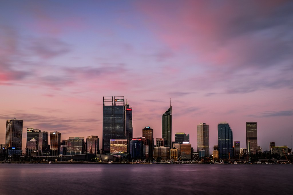 Perth at twilight, taken from South Perth foreshore