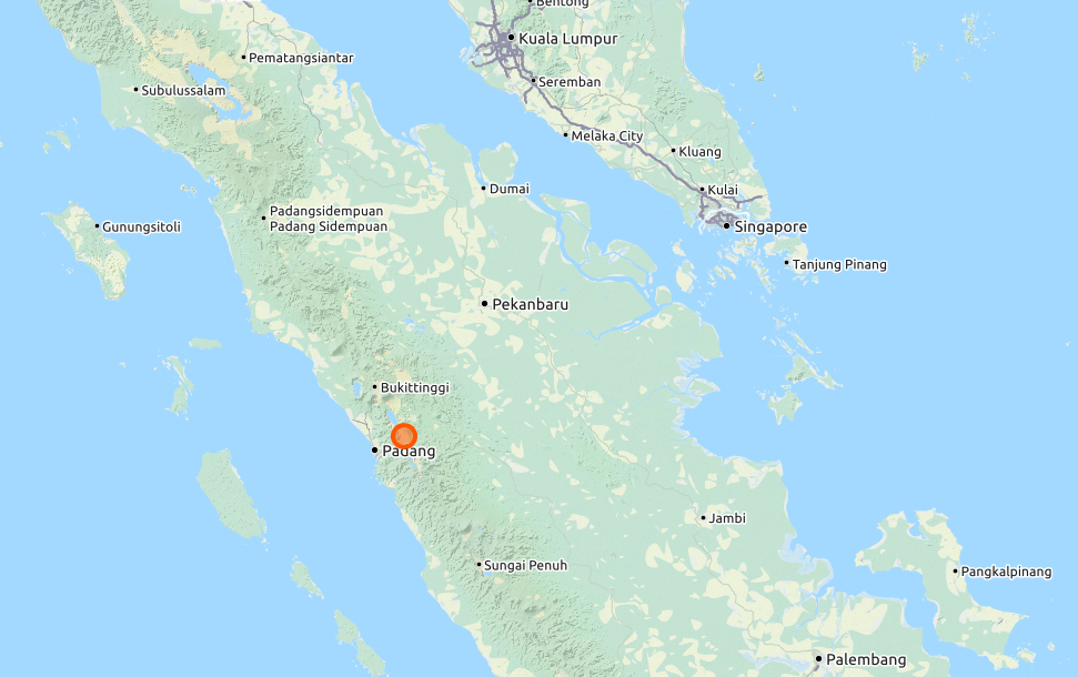 Solok is close to Padang on the centra western coast of Sumatra, map.