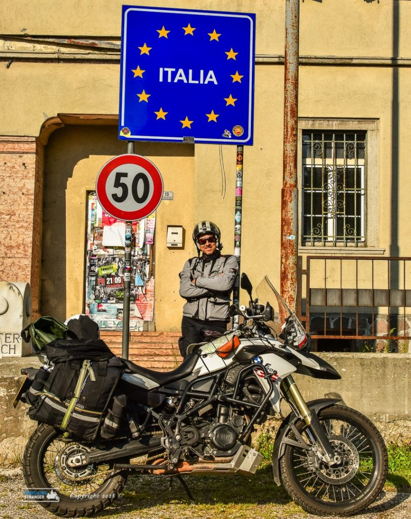 Sign board at Italian border