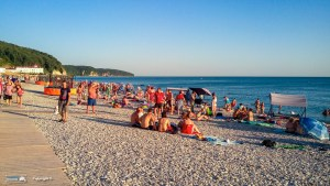 The sun sets on the beach after a hot day in Sochi