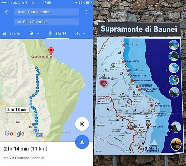 Cala Goloritze Sardinia Map
