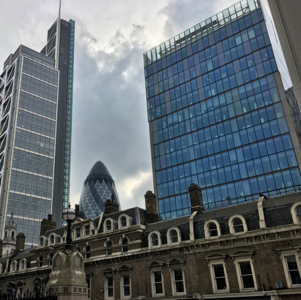 The Gherkin, from the steps outside London Liverpool Street Station