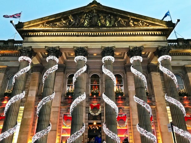 Christmas decorations at The Dome, Festive Things to do in Edinburgh, Scotland