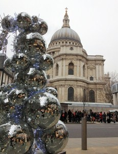 Christmas in the city: looking across to St Paul's beautiful cathedral from One New Change centre
