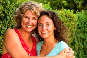 happy parent and teen