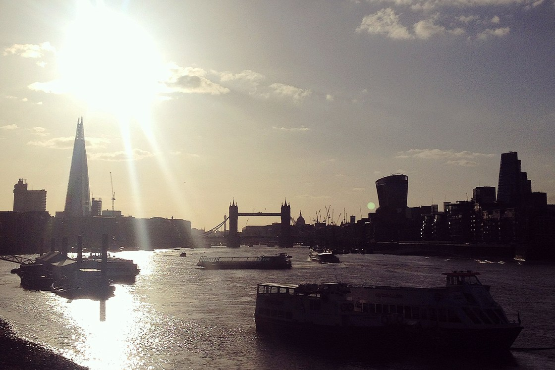 London secret walks – Thames walk London Tower Bridge Shard sunset