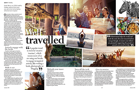 Creative travel and wellness escapes featured in the January 2019 issue of Get it Magazine