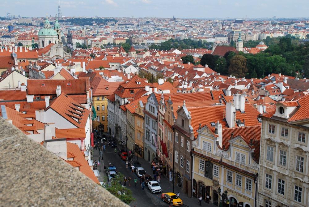 Panoramisch uitzicht Schwarzenberg Cafe Praag Tsjechië