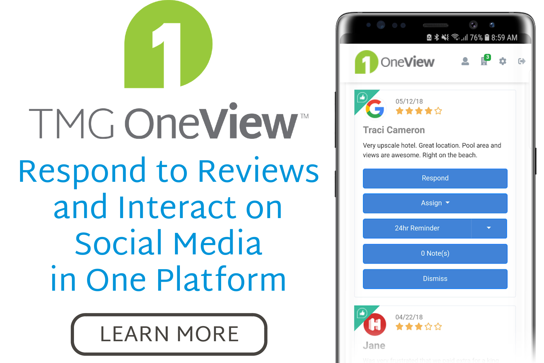 Get TMG OneView, the Ultimate Guest Feedback Management System
