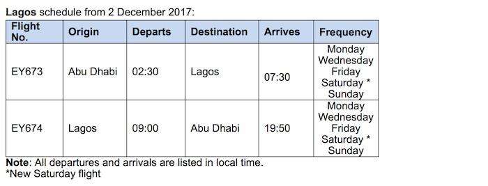 Etihad Lagos Schedule 2017
