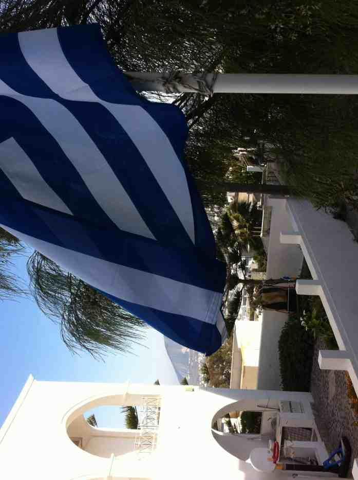 Greek flag waving in the air