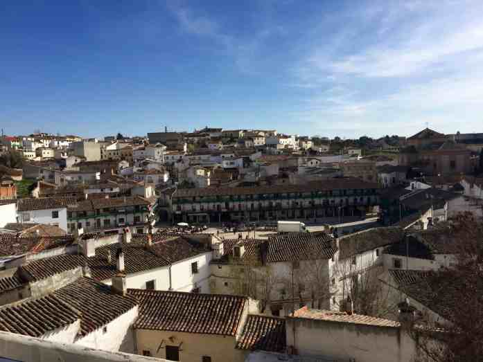 birds eye view of pretty little spanish town roofs