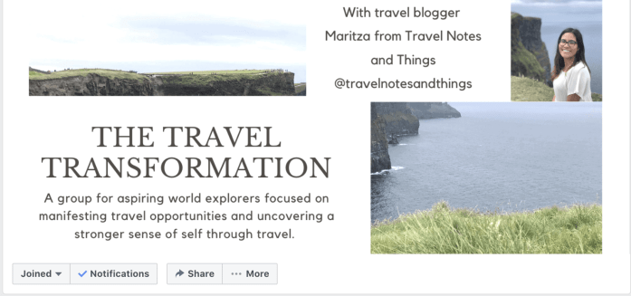 Travel and self development Facebook group