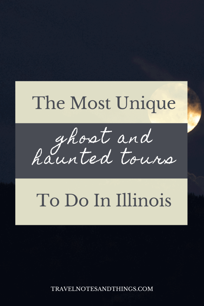 haunted tours in Illinois pin image with moon