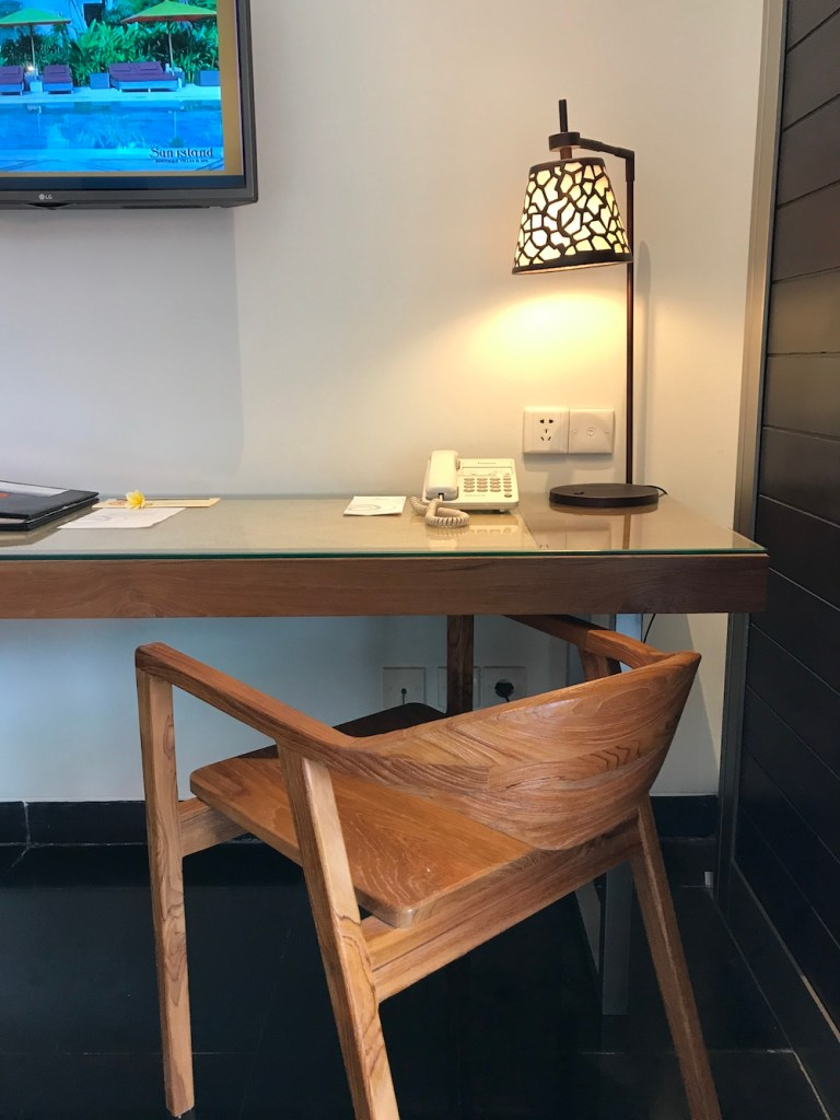 Desk in bedroom at sun island seminyak