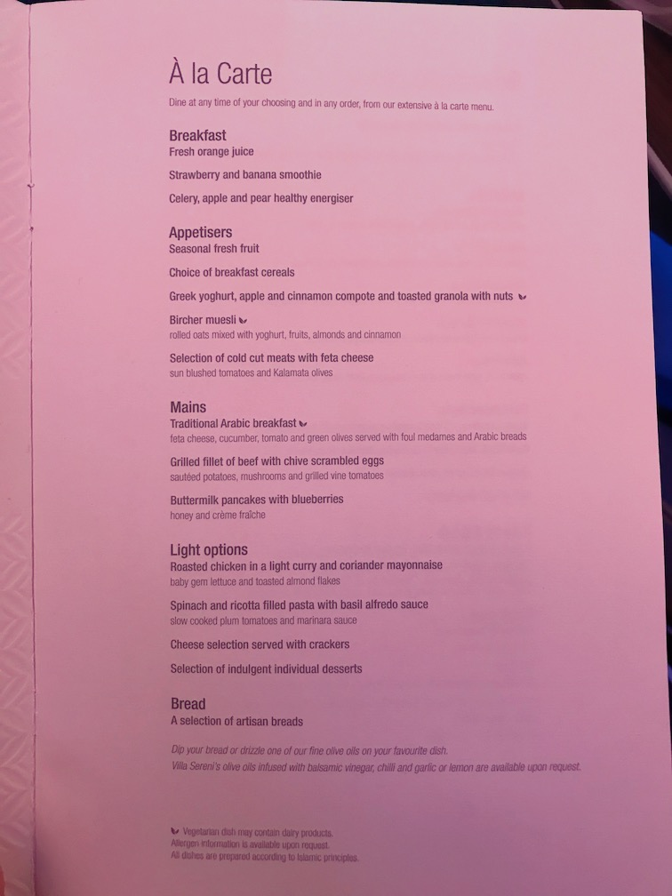 Breakfast Menu on Qatar Airways Business Class a350