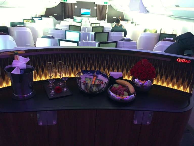Qatar a350 Bar area