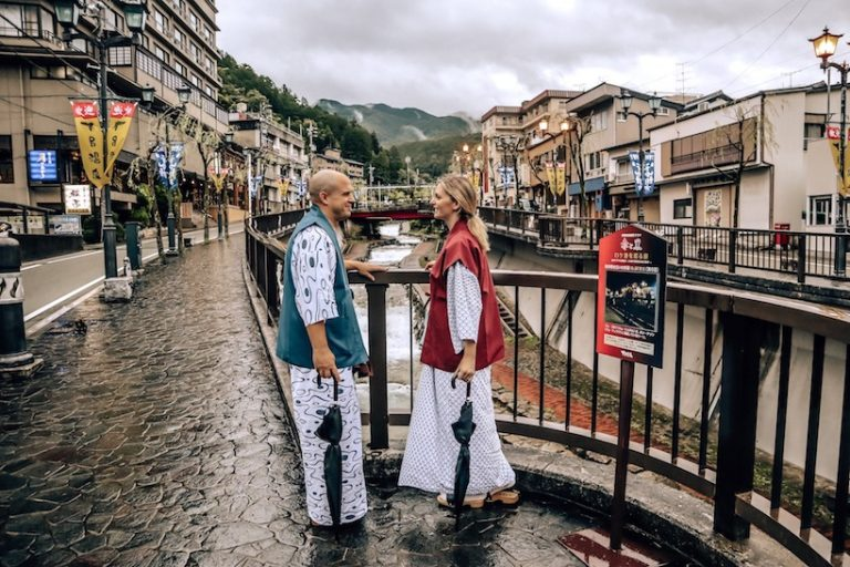 Trevor and Kashlee Kucheran walking through Gero Japan in Yukata