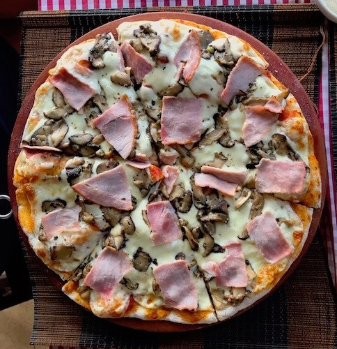 Smoked Ham and Mushroom pizza at Pizza Oi in Hoi An