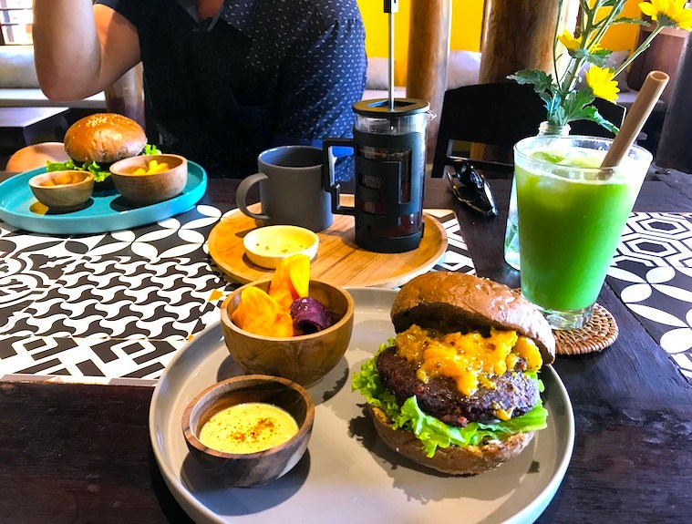 Vegan burger at Nourish Eatery Hoi An