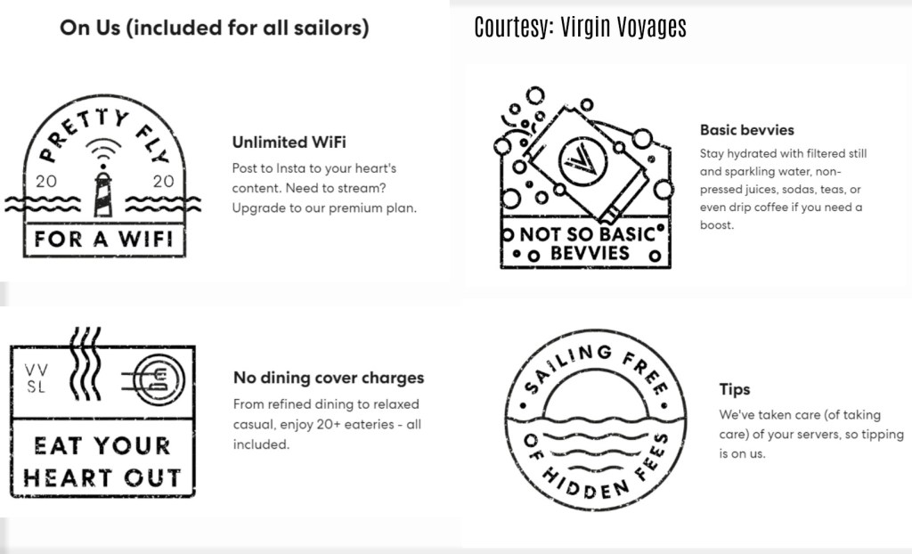 Virgin Voyages Includes Wifi tip and soda