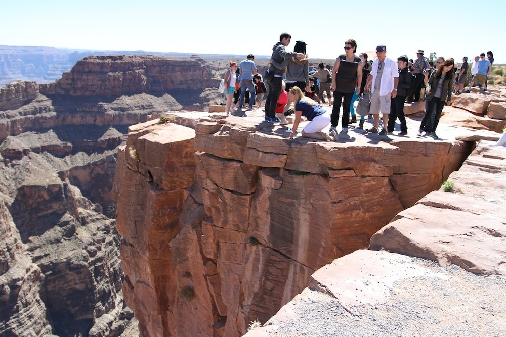 Tourists Taking Photos Close to Edge of Crand Canyon