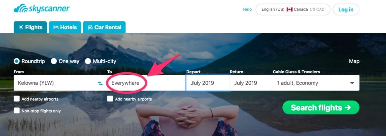 Skyscanner 'everywhere' search option