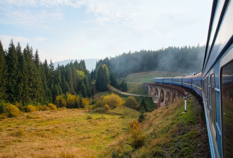 Take train across all of ukraine