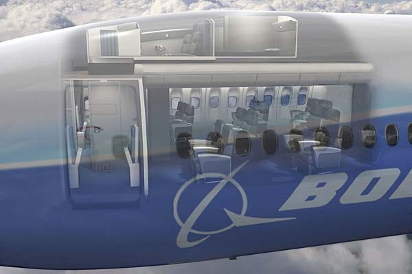 Where the boeing crew cabins are