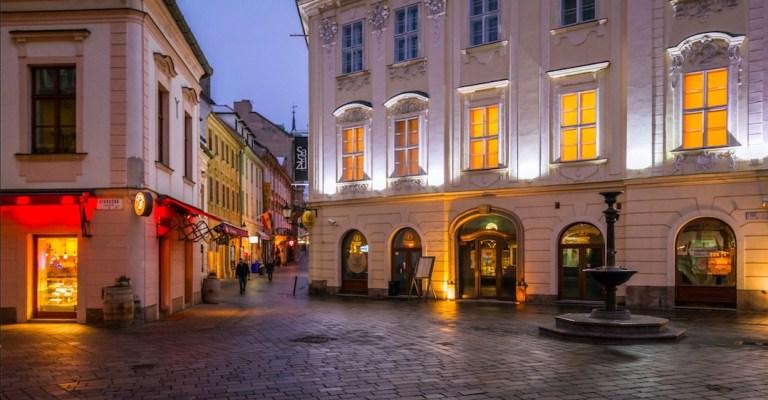 downtown bratislava in winter