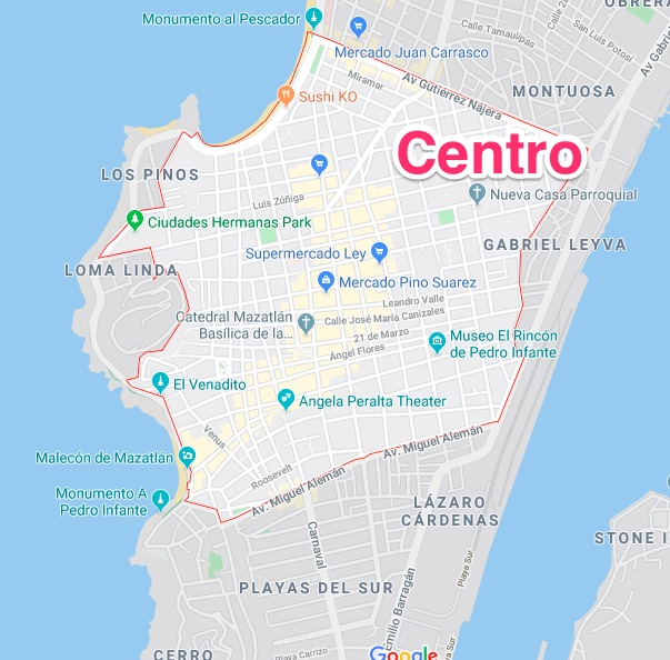 Centro Historico map mazatlan