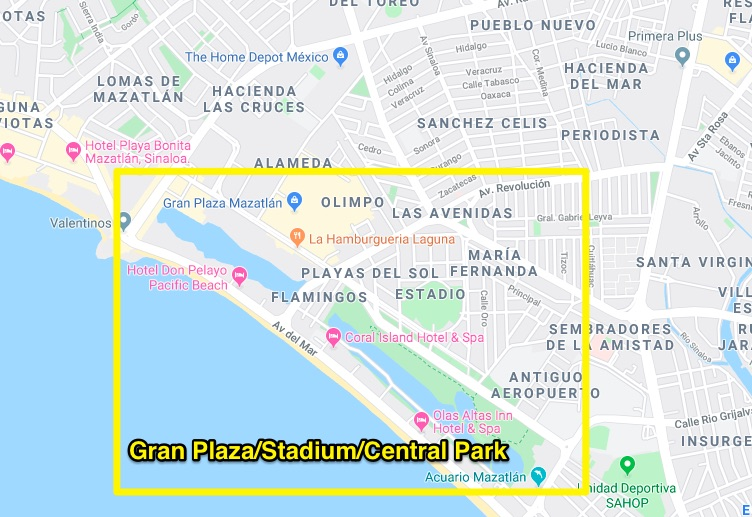 Gran Plaza and Central Park area of mazatlan
