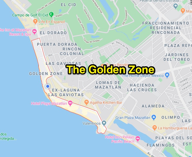 The Golden Zone area in Mazatlán